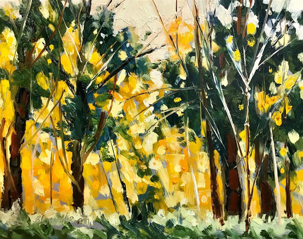 """Deer Woods Trail Fall"" original fine art by Linda Blondheim"