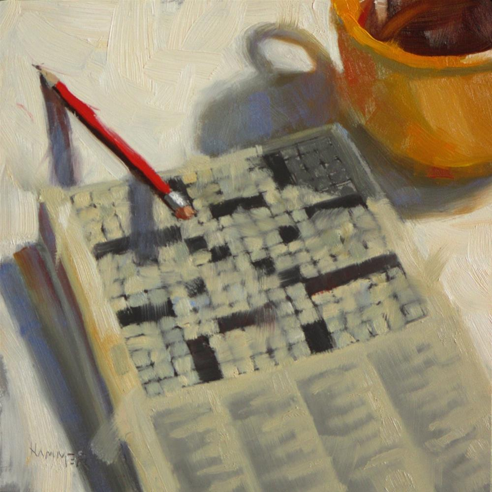 """Solving the Puzzle  6 x 6  oil"" original fine art by Claudia Hammer"