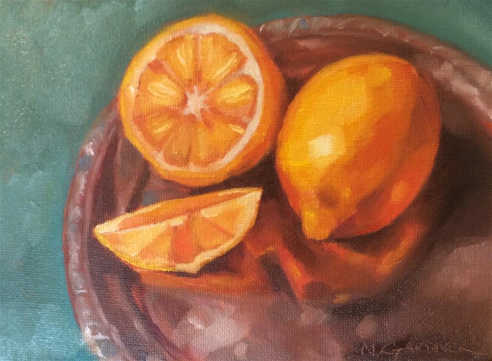 """Citrus Platter"" original fine art by Nikki Gardner"
