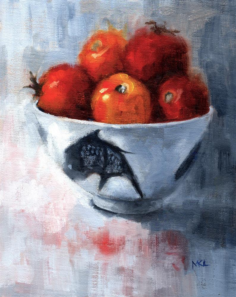 """China Bowl with Fresh Tomatoes"" original fine art by Marlene Lee"