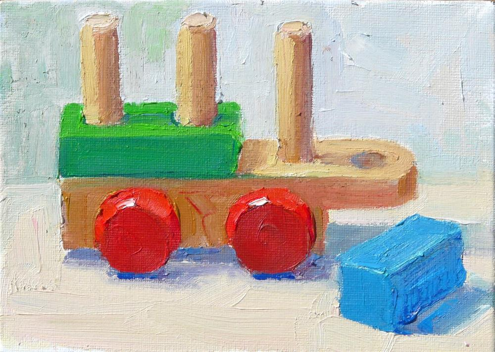"""Wooden Toys,still life,oil on canvas,5x7,price$150"" original fine art by Joy Olney"