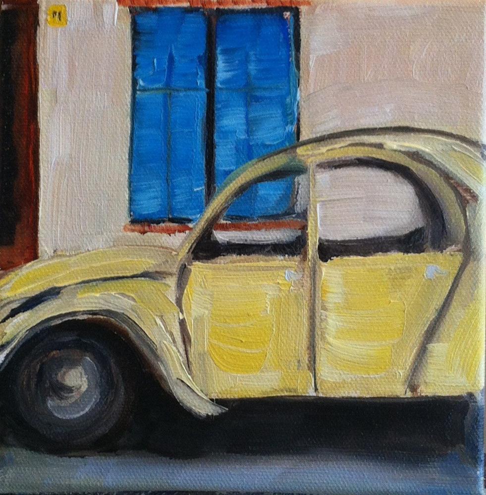"""""""Yellow Car"""" original fine art by Karen D'angeac Mihm"""