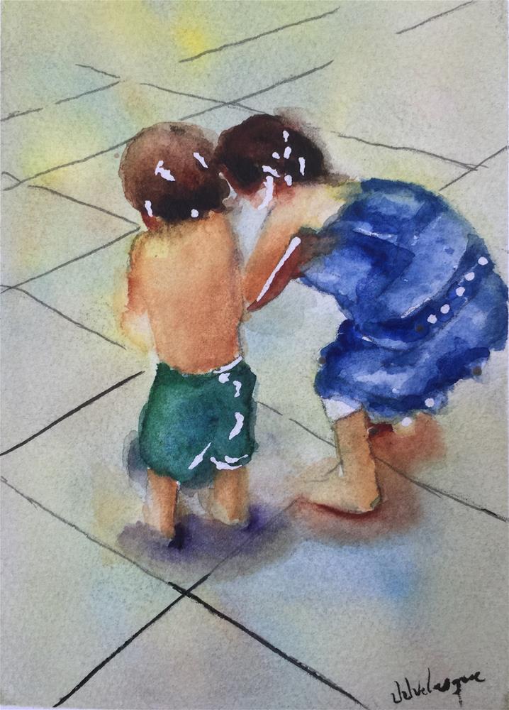 """Big Sister and little brother"" original fine art by Juan Velasquez"