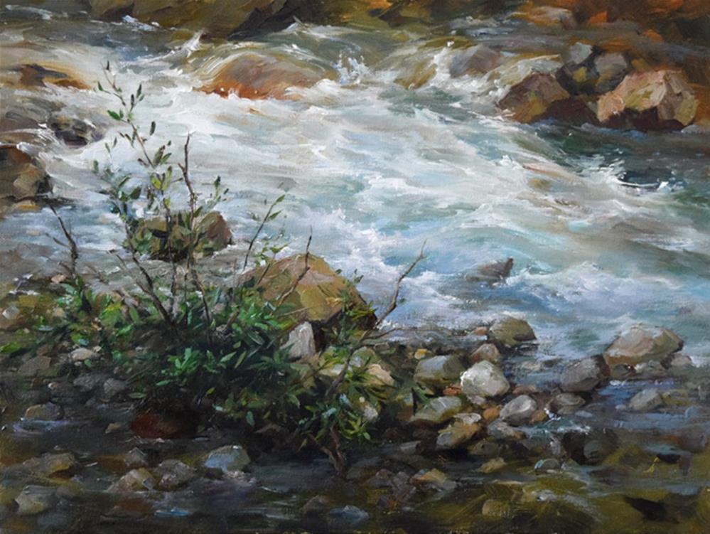 """A Running Stream"" original fine art by Kelvin Lei"