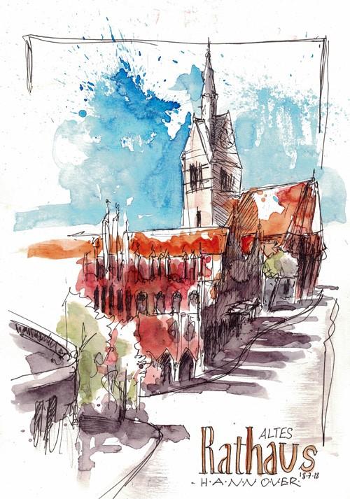 """""""2540 Old Town Hall"""" original fine art by Dietmar Stiller"""