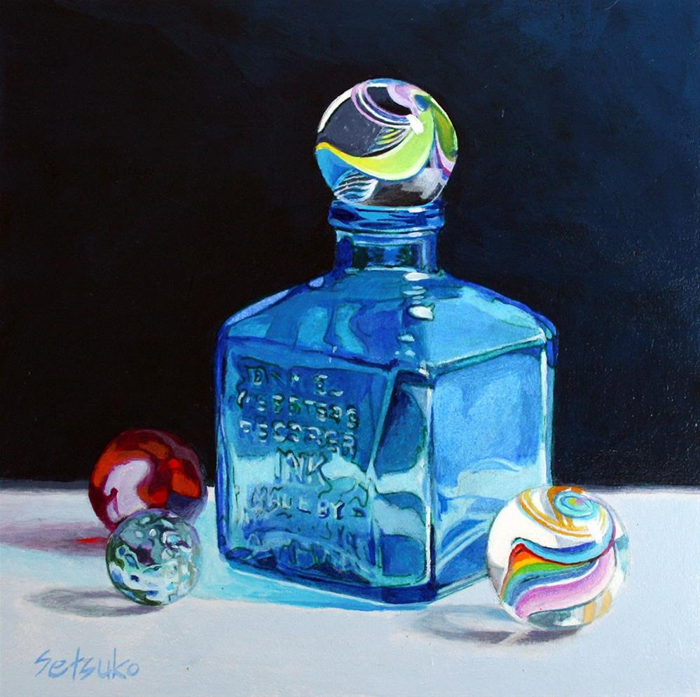 """Ink Bottle and marbles"" original fine art by Setsuko Lawson"