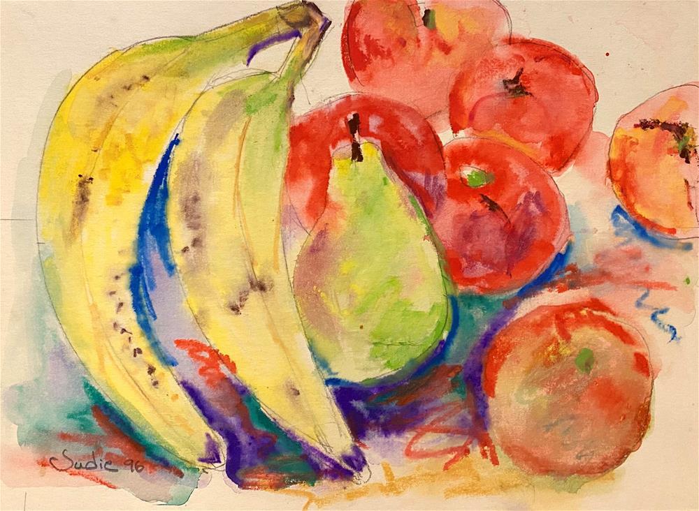 """VINTAGE FRUIT STILL LIFE"" original fine art by Judie Mulkey"
