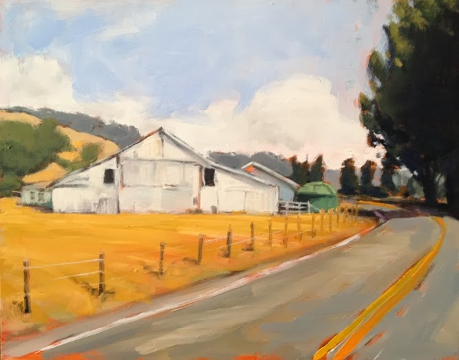 """Nicasio Barn"" original fine art by Deborah Newman"