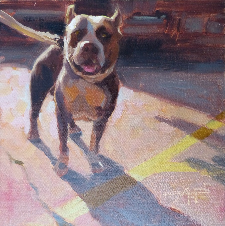 """""""4 of 30 - Dogs and Cars - Proud Pit"""" original fine art by Anette Power"""