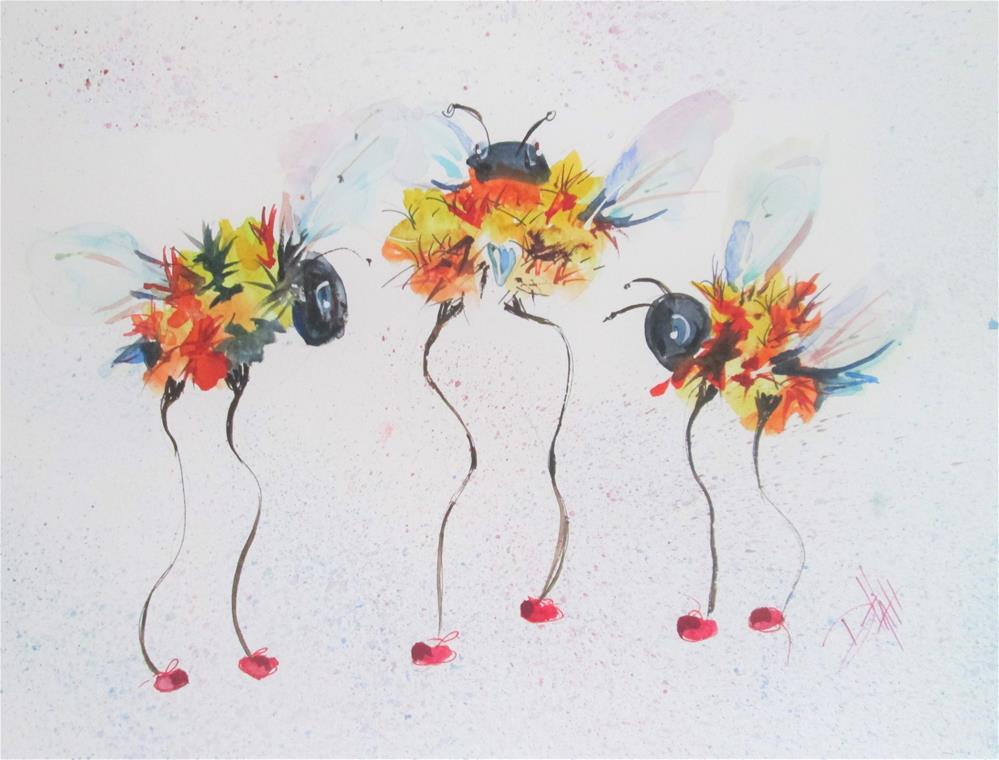 """Three Long Legged Bees"" original fine art by Delilah Smith"