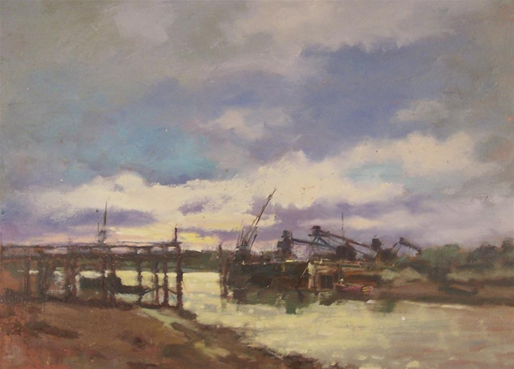 """Across the River- Wivenhoe"" original fine art by John Shave"