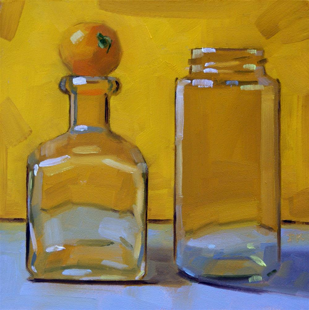 """""""Duo in Yellow with Little Visitor"""" original fine art by Jiyoung Kim"""