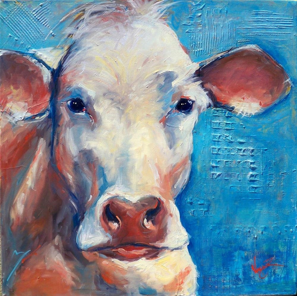 """""""CONTEMPORARY COW PAINTING"""" original fine art by Olga Wagner"""