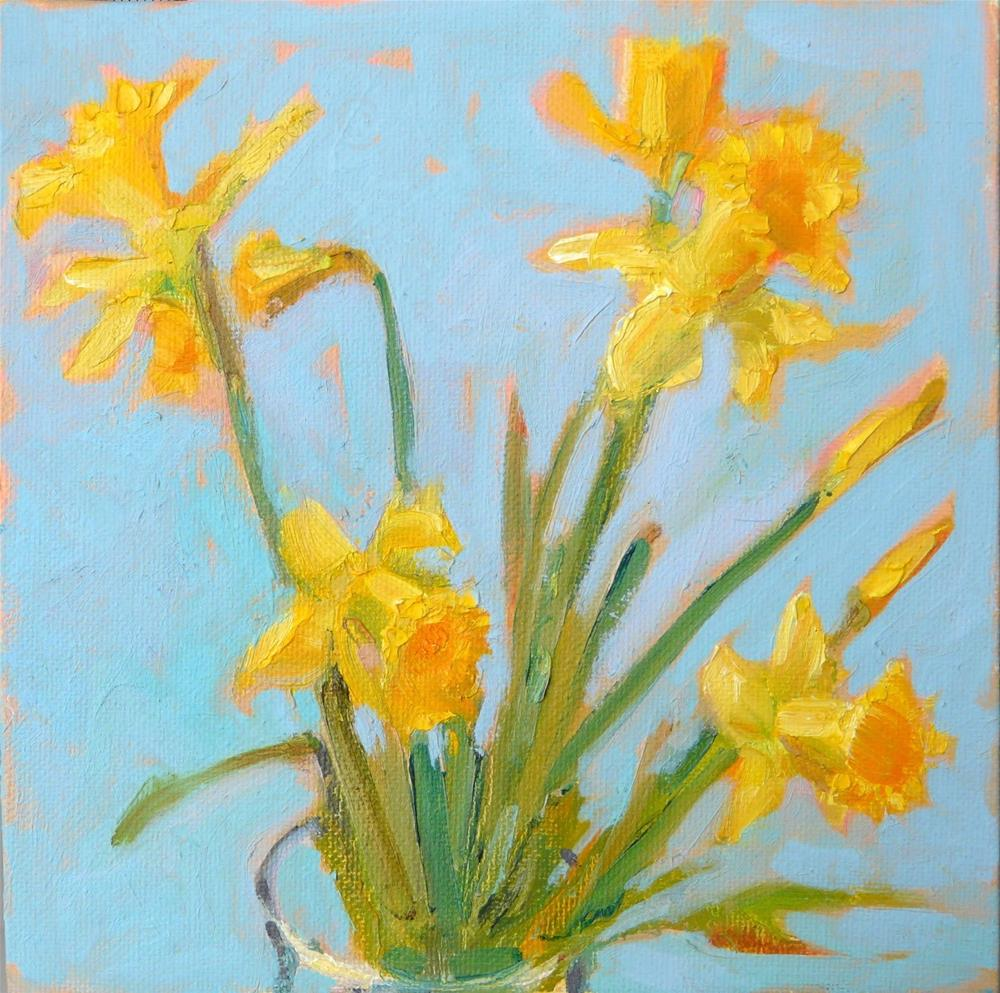 """Spring Daffodils,still life,oil on canvas,8x8,price$250"" original fine art by Joy Olney"