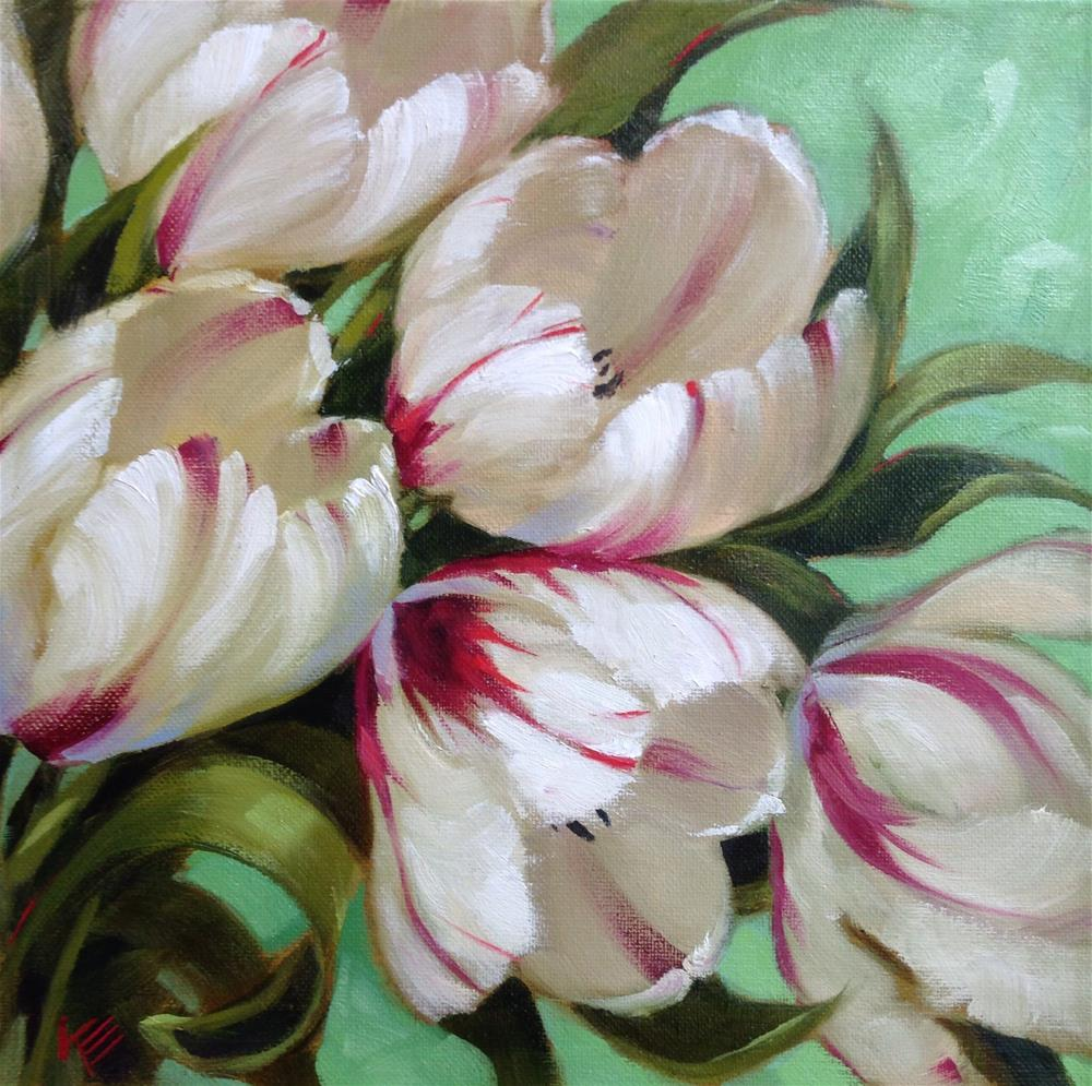 """""""12x12 on 0.5 thick canvas Burning Hearts on Mint"""" original fine art by Krista Eaton"""