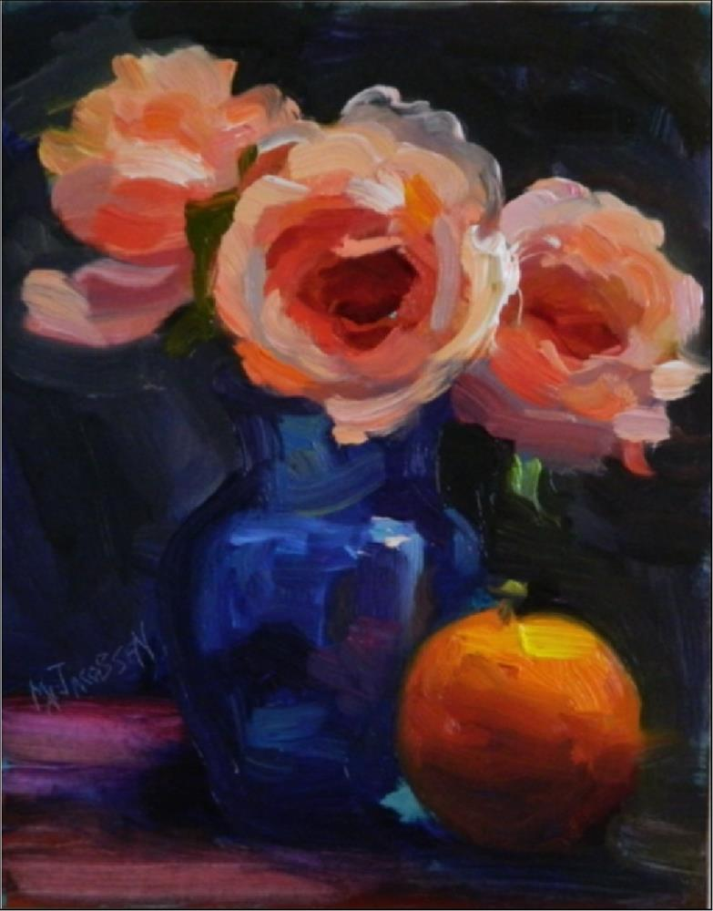 """""""Drama Queens, 8x10, oil on panel, coral, peach, roses, impressionist roses, drama, MAryanne Jacobs"""" original fine art by Maryanne Jacobsen"""