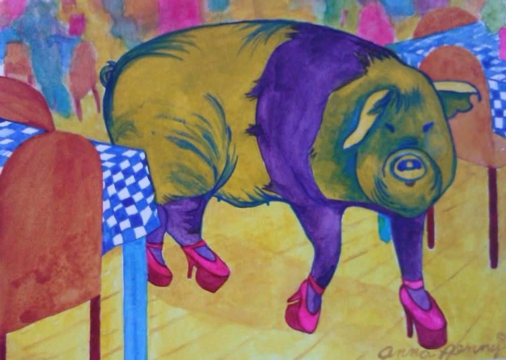 """""""Hog in High Heels"""" original fine art by Anna Penny"""