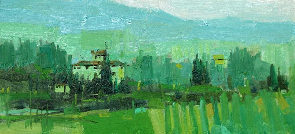"""Tuscany in Green"" original fine art by Qiang Huang"