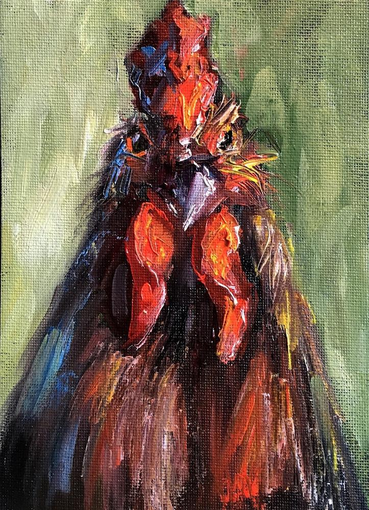 """Mr Big Stuff Rooster painting by Alabama Artist Angela Sullivan"" original fine art by Angela Sullivan"