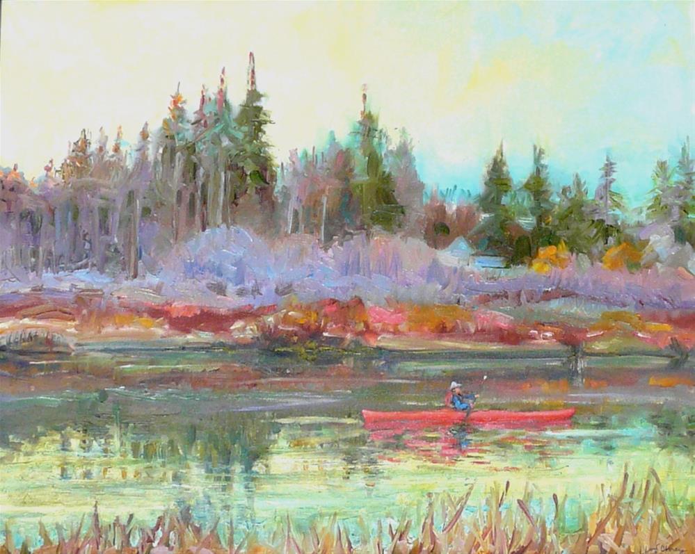 """Winter on the Lagoon,Seascape,oil on canvas,16x20,priceNFS"" original fine art by Joy Olney"