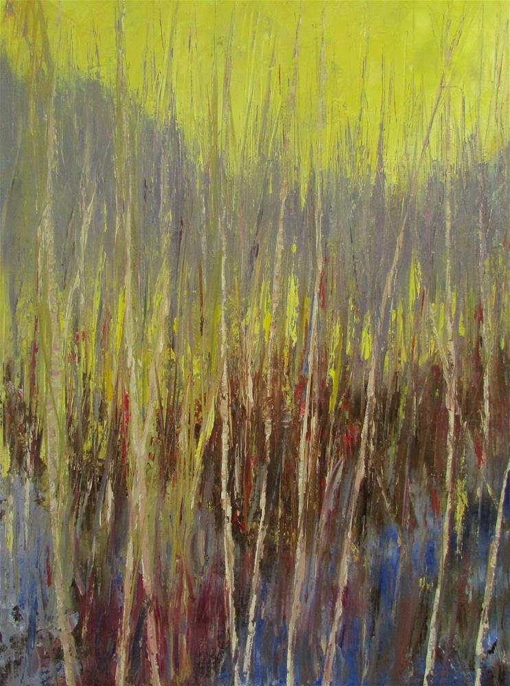 """18 x 24 inch oil Abstracted Forest"" original fine art by Linda Yurgensen"