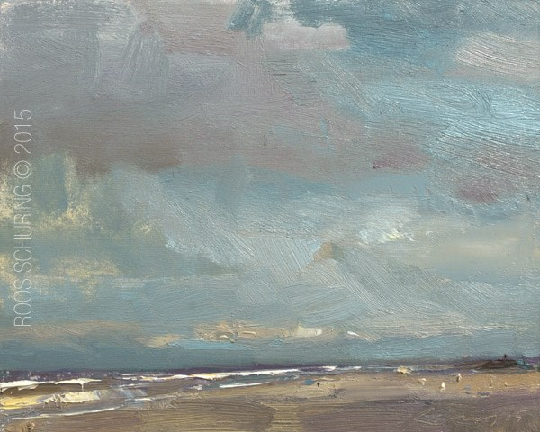 """""""SSP06-2015 Schuring Seascape Is There Rain Coming"""" original fine art by Roos Schuring"""
