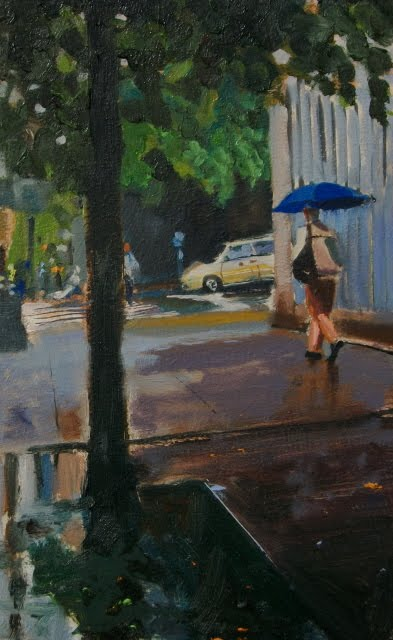 """Umbrella Man  rainy day in Seattle, oil cityscape, figurative, painting"" original fine art by Robin Weiss"
