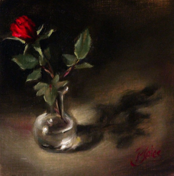 """Red Rosebud"" original fine art by Pamela Blaies"