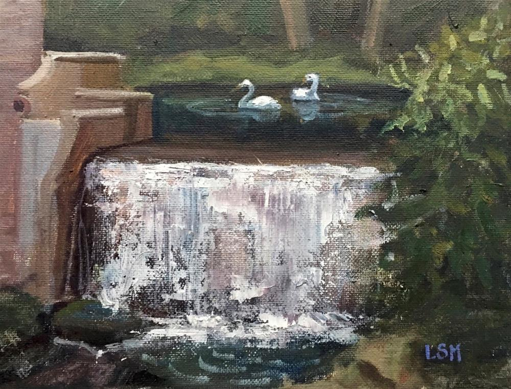 """Two Swans and a Waterfall"" original fine art by Linda Marino"
