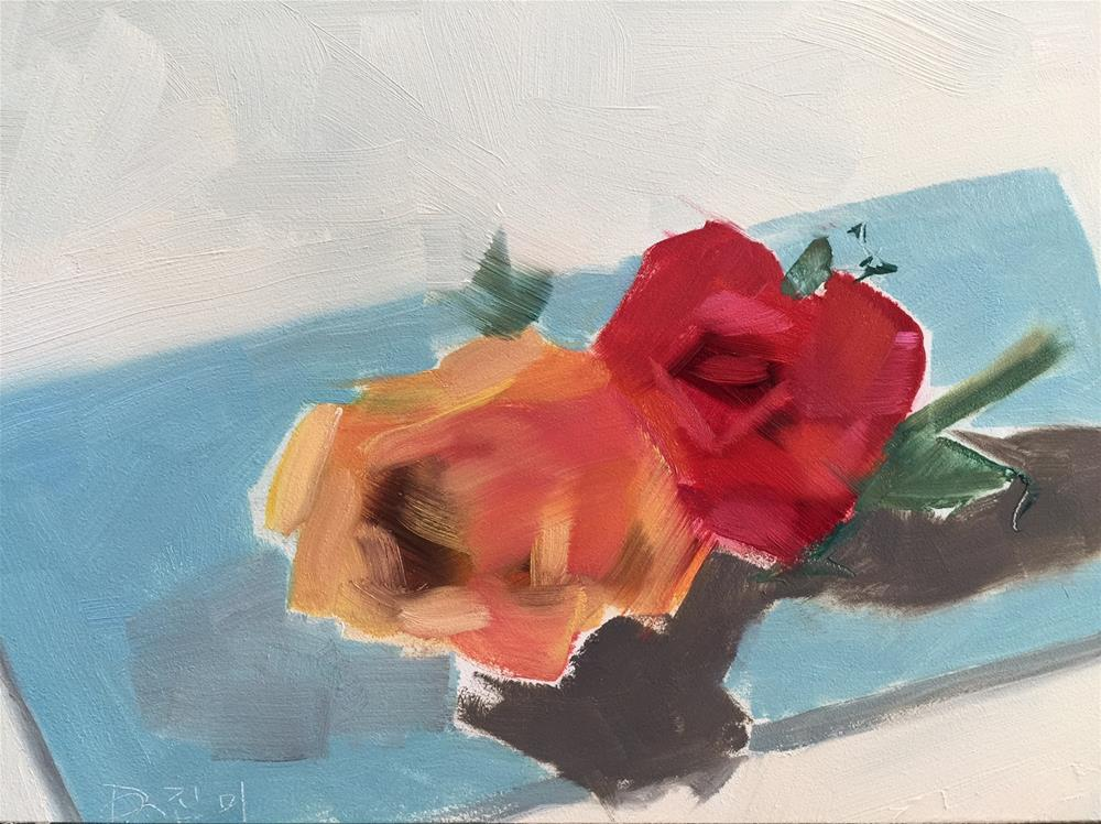 """""""109 Two Roses"""" original fine art by Jenny Doh"""
