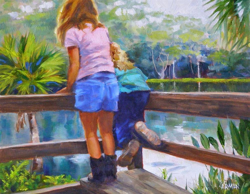 """Little Hikers, 10x8 Oil on Canvas"" original fine art by Carmen Beecher"