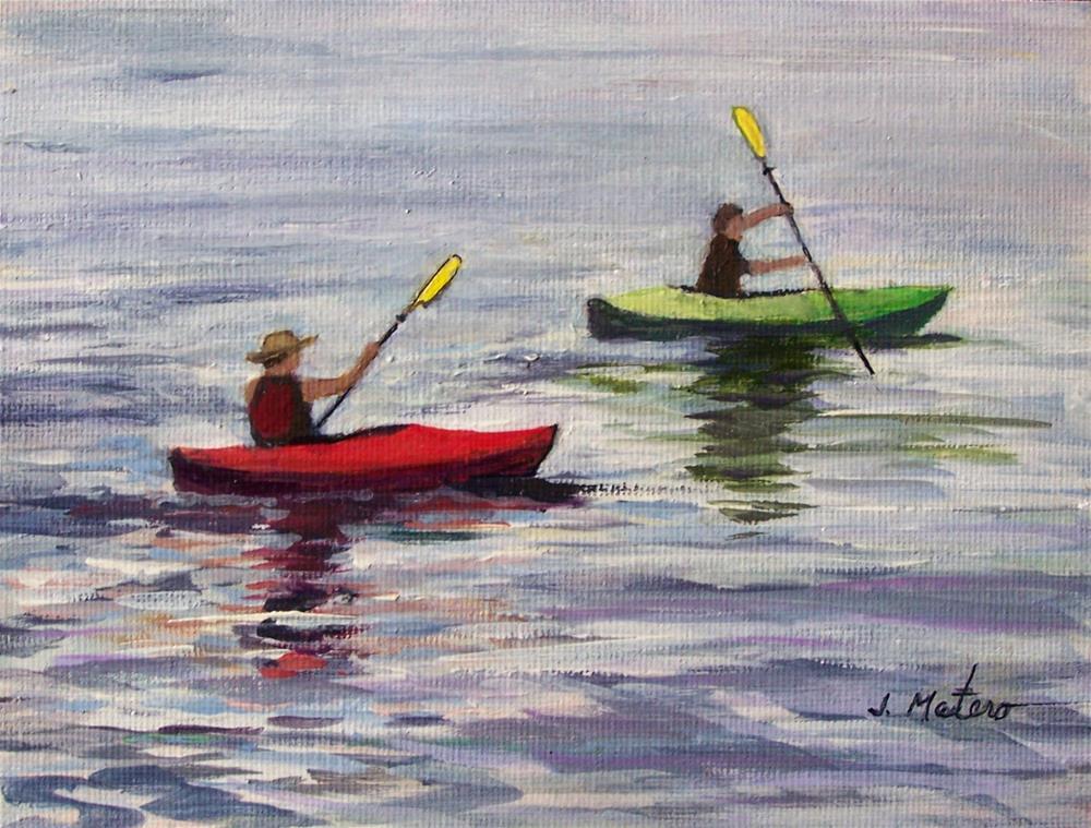 """""""Kayakers"""" original fine art by Joan Matero"""