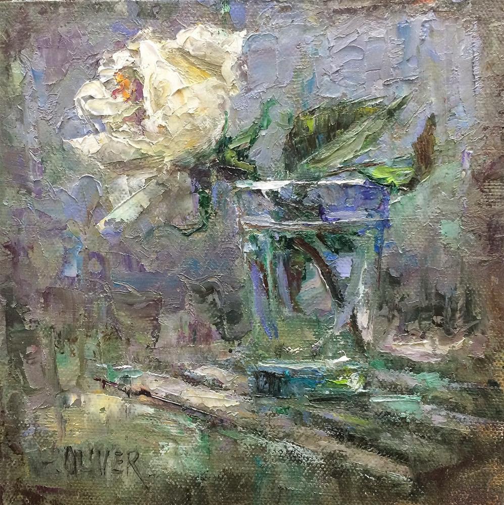 """Rose in Glass - days 19-20 in Challenge"" original fine art by Julie Ford Oliver"