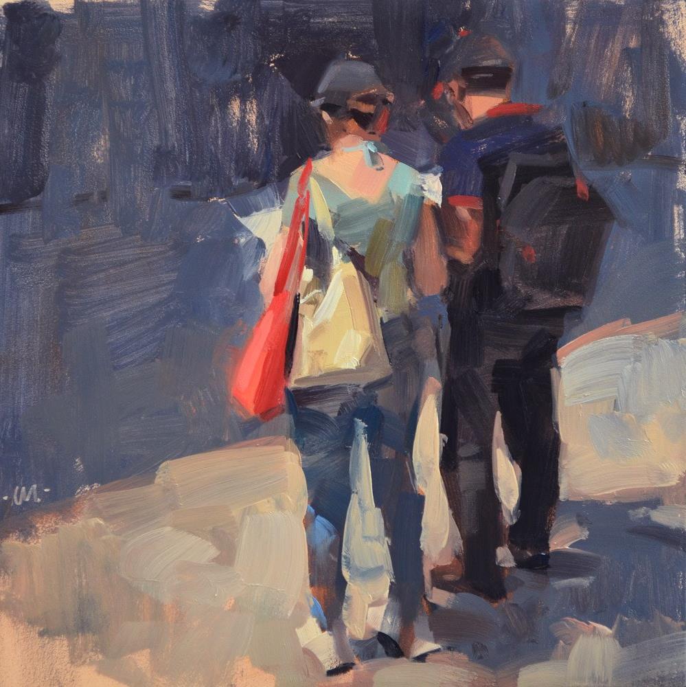 """Sharing the Map"" original fine art by Carol Marine"