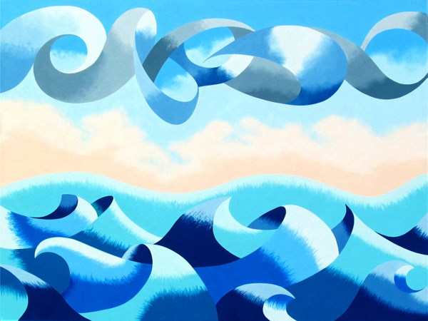 """Mark Adam Webster - Abstract Ocean Seascape Oil Painting 30x40"" original fine art by Mark Webster"