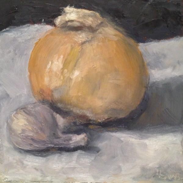 """""""Onion & Garlic Study"""" original fine art by Lori L. Lamb"""