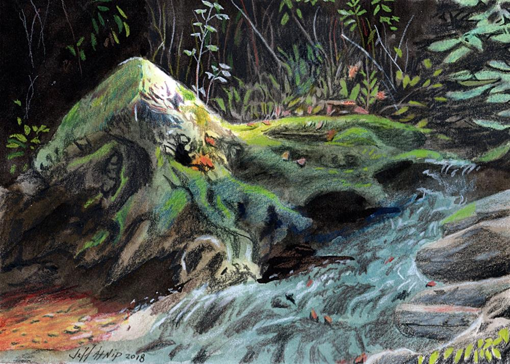 """Mossy Stump with Spring"" original fine art by Jeff Atnip"