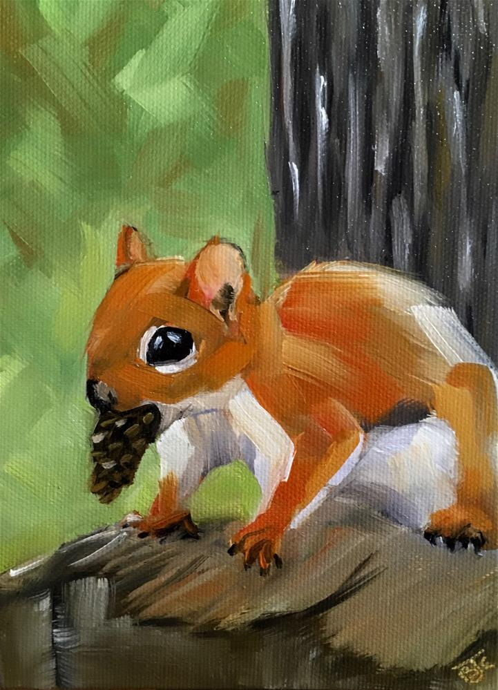 """Squirrel Away"" original fine art by Bobbie Cook"