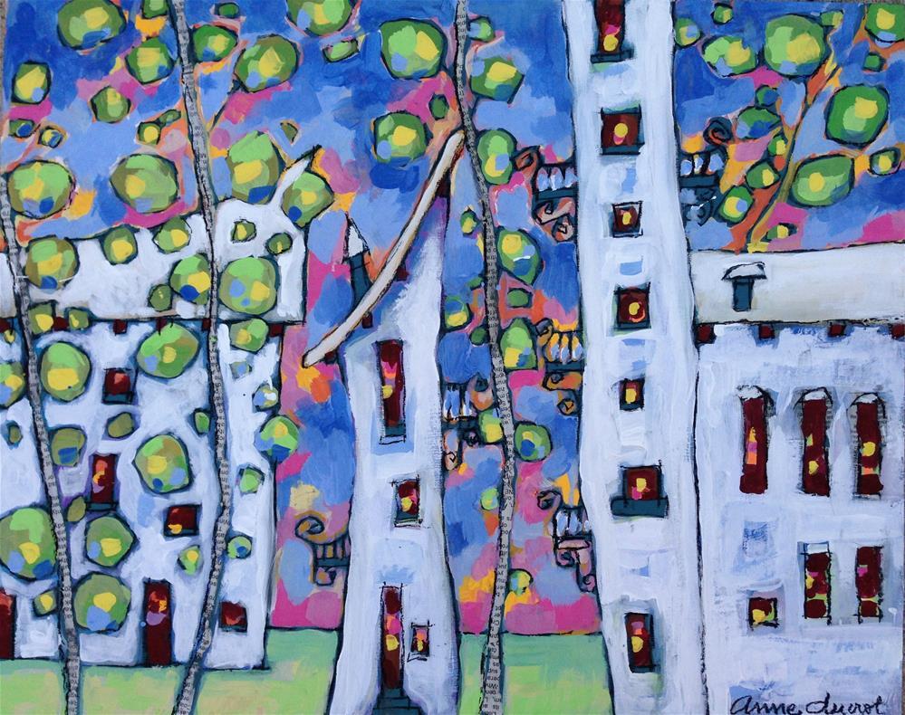 """Blue Town"" original fine art by Anne Ducrot"