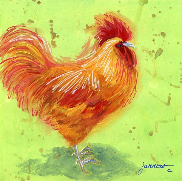 """""""ORIGINAL PAINTING OF KEY WEST ROOSTER #3 - MR. RI RED"""" original fine art by Sue Furrow"""