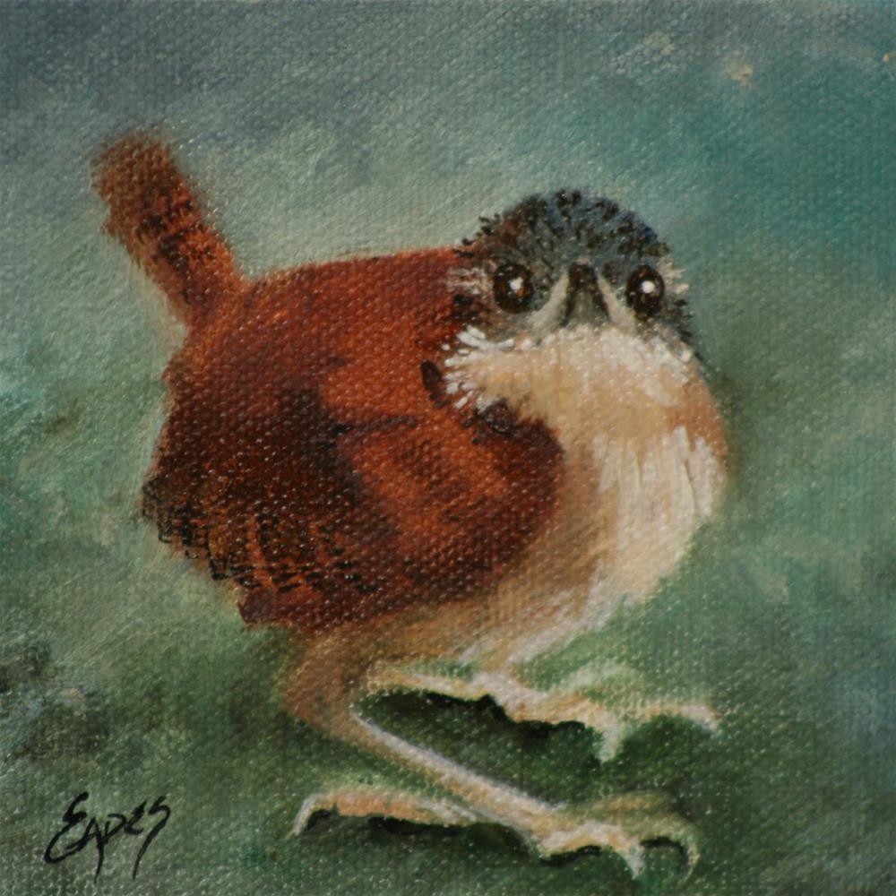 """""""Baby Carolina Wren 2"""" original fine art by Linda Eades Blackburn"""