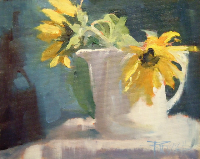 """""""The Last Sunflowers  oil still life painting"""" original fine art by Robin Weiss"""
