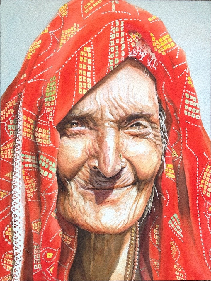 """The Moroccan Lady"" original fine art by Hui (Hue) Li"