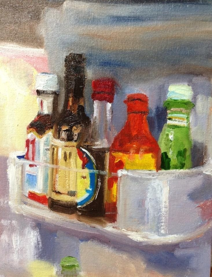 """In my fridge"" original fine art by Peggy Schumm"