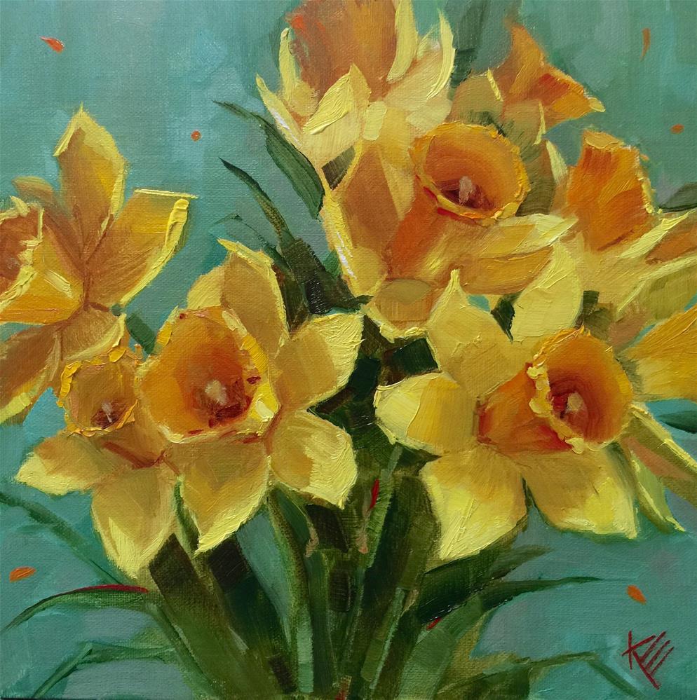 """Daffodils on Blue"" original fine art by Krista Eaton"