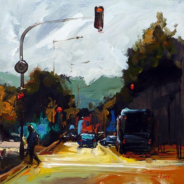 """Autumn road 2"" original fine art by Jurij Frey"
