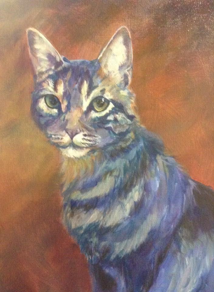 """""""Day 1 - Here, Kitty!"""" original fine art by Lyn Gill"""