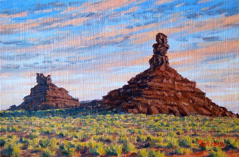 """Evening Light on Setting Hen Butte & Rooster Rock"" original fine art by Steven Thor Johanneson"