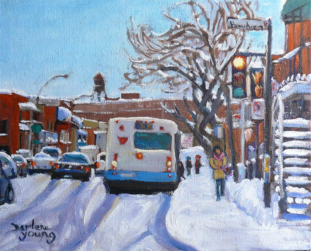 """972 Montreal Street Scene, Mile End, Beaubien"" original fine art by Darlene Young"