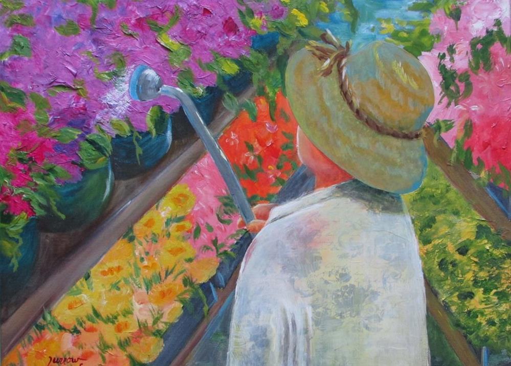 """ORIGINAL MIXED MEDIA PAINTING 'TENDING HER GARDEN'"" original fine art by Sue Furrow"